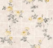 Vlies Tapete Kacheln Blumen Kletterrosen beige grau gelb 34501-3 Chateau 5