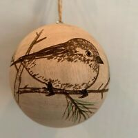 NWT Pier 1 ~ Round Carved Wood BIRD Christmas Ornament Hand Crafted Wooden