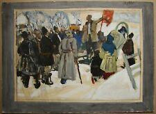 Russian Ukrainian Soviet Oil Painting genre meeting impressionism revolution