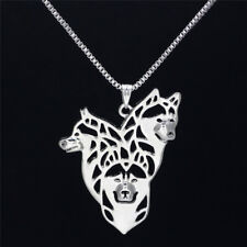 Gold Silver Plated Husky Dog Pendant Chain Necklaces Animal Couples Jewelry 3c Gold