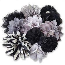 Black Grey Fabric Flowers Craft Glue/Sew On Embellishment Applique Garment Hair