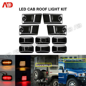 10x Smoke For Hummer H2/H2 SUT 2005-09 LED Cab Roof Light Marker Roof Top Lamp
