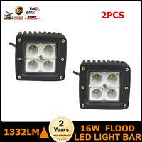 2X 16W 3 inch Square Flood Beam LED Work Light Off Road Fog 4WD Truck Boat 12/24