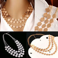 Women's Charm Multi-Chain Pendant Chunky Statement Bib Necklace Fashion Jewelry