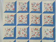 Unfinished Quilt Top- Attic Windows, flowers,  blue & beige border approx  48x48