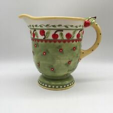 """Vintage 1998 Signed Mary Engelbreict Cherry Jubilee Themed 7"""" Ceramic Pitcher"""