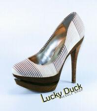 Jessica Simpson Wood Platform Pump Heels Women's White / Tan / Brown SZ 6.5 B