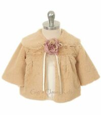 Taupe Flower Girl Faux Fur Coat Wedding Christmas Pageant Baby Half Jacket 280