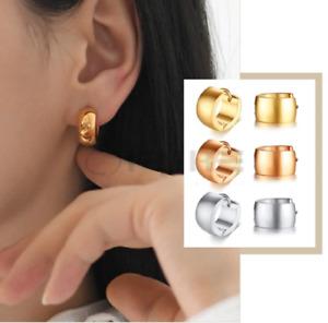 Surgical Steel Huggie Wide Stud Small Silver Cartilage Gold Chunky Hoop Earrings