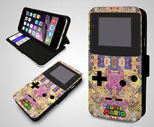 Nintendo Gameboy Retro Super Mario Zelda Leather Wallet Flip Phone Case Cover