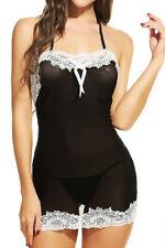 Black-Sexy-Lingerie-Lace-Dress-Babydoll-Women's-Underwear-Sleepwear-G-String