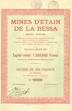 Portugal, Mines d' Etain de la Bessa SA, accion, 1925 (Siege: Bruxelles)