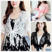 Women Sweet Hollow Out Short Sleeve Cardigan Lace Up Summer Beach Wrap Coat SG