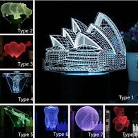 3D Art Bed Night Light Animal LED Table Desk Lamp 7 Color Sydney Modle Gift