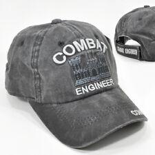 Army Combat Engineer Gray/Black Cap Hat Low Profile 100% Cotton Adj Back New
