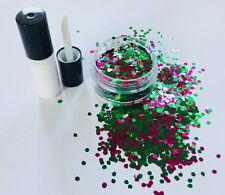 FESTIVAL FACE/BODY/HAIR KIT-GLUE + 2mm HEXAGON CERISE + GREEN GLITTER 10g POT
