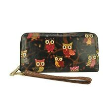 Vintage Owl Print Faux Leather Wristlet Cell Phone Holder
