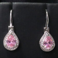 Sparkling Pink Pear Sapphire Earring Drop Women Jewelry 14K White Gold Plated