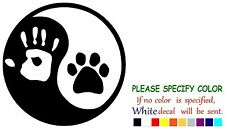 "Ying Yang human hand dog paw Funny Vinyl Decal Sticker Car Window laptop 6"""
