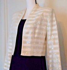 Patra Blazer Size 8 Ivory Sequin Evening Gala Formal MSRP $170 GLamour Shimmer