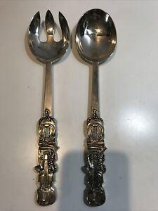 Godinger Silver Plated Salad Serving Spoon & Fork Decorated Violins Musical