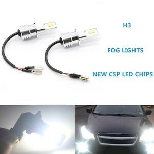 Super Bright H3 CSP LED Fog Light Bulbs Conversion Kit 55W 6000LM 6000K WHITE