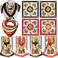"Large Square Satin Silk Like Head Neck Scarf Headdress Bandana Shawl Wrap 35x35"""