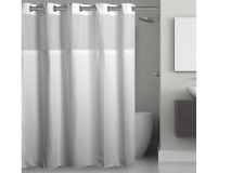 Hookless Waffle 70-Inch x 98-Inch Fabric Shower Curtain in White Extra Long EUC
