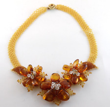 Handcrafted Vintage Glass Seed Bead Woven Necklace Genuine Baltic Amber Flowers