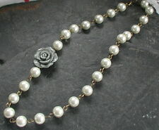 Large Grey Flower Necklace Beaded Cream Ivory Glass Pearls Necklace Vintage Styl