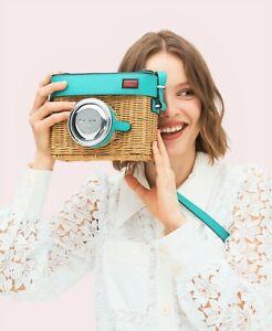Kate Spade New York Rose Camera 3d Wicker & Leather Bag Fiji Green NEW