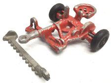 Vintage Arcade Red Cast Iron Farm Tractor Mower #421 USA nickel wheels