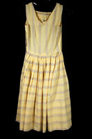 VINTAGE 1950'S YELLOW PLAID AND FLORAL TAPE PRINT CLASSIC COTTON DRESS SIZE 4