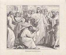 Gravure ancienne religieuses  XIXème  résurrection de la fille de Jaïre