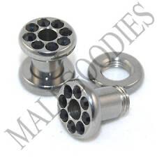 0573 Surgical Steel Screw-on/fit Black CZ Flesh Tunnels 4 Gauge 4G Ear Plugs 5mm