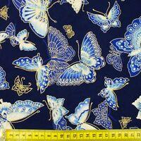 Japanese oriental metallic gold butterflies fabric cotton fat quarter FQ F0054