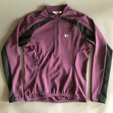 Pearl Izumi Cycling Jersey Womens Size Medium Half Zip Long Sleeves Plum Black