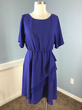 bcbg max and cleo blue blouson dress S Career Cocktail Batwing sleeve Excellent