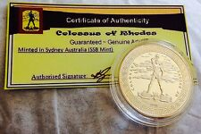Greek- Colossus of Rhodes-Gold Plated collectable. C of A Included