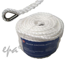 50M X 10MM HIGH STRENGTH SILVER ANCHOR ROPE WITH STAINLESS STEEL THIMBLE #186101