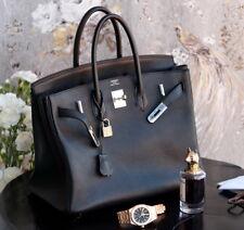 HERMES Birkin BLACK 35cm N 2010 leather ladies bag purse clemence 35 togo b31ceb6118e62
