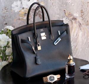HERMES Birkin BLACK 35cm N 2010 leather ladies bag purse clemence 35 togo