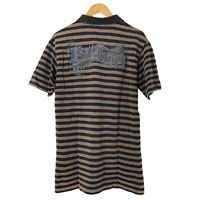 Billabong Mens Polo Shirt Size L Brown Striped Short Sleeve 100% Cotton