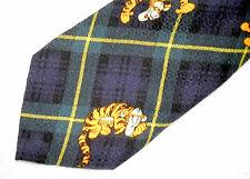 The Disney Store Men's Neck Tie Silk Necktie Tigger on Blue/Green Plaid Jacquard