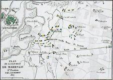 STRATÉGIE: PLAN de la BATAILLE de MARENGO avec emplacement des armées - Gravure