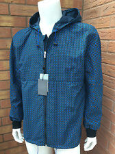 ALEXANDER McQUEEN BLACK HOODED JACKET WITH ALL OVER BLUE MINI SKULL MOTIF SIZE L