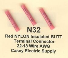Industrial wire cable ebay 25 red nylon insulated butt terminal connector 22 18 wire gauge awg molex keyboard keysfo Gallery