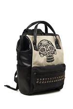 Black Cream Gothic Punk Rock Skull Studs Rockabilly Backpack Bag Banned Apparel