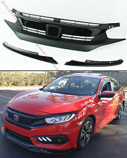FOR 2016-17 HONDA CIVIC 10TH GEN PAINTED BLK RS STYLE FRONT HOOD GRILL + EYE LID