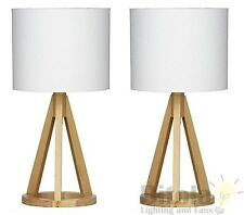 PAIR OF HORTEN BEDSIDE LAMPS TABLE NATURAL TIMBER BASE WHITE FABRIC SHADE